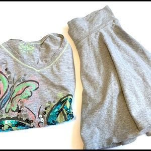 Justice Gray Butterfly T-Shirt & Skirt Bundle 12